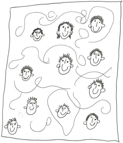 Im Schwimmbad - Zeichnung einer Schülerin