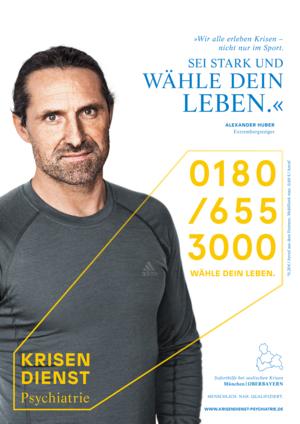 Krisendienst-Plakat - Motiv mit Alexander Huber