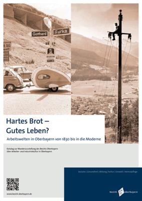 Zweigeteites Bild: Links ein Auto mit Wohnwagen, rechts ein Arbeiter auf einem Strommasten. Beide aufnahmen in Sepia-Schwarz-Weiss.
