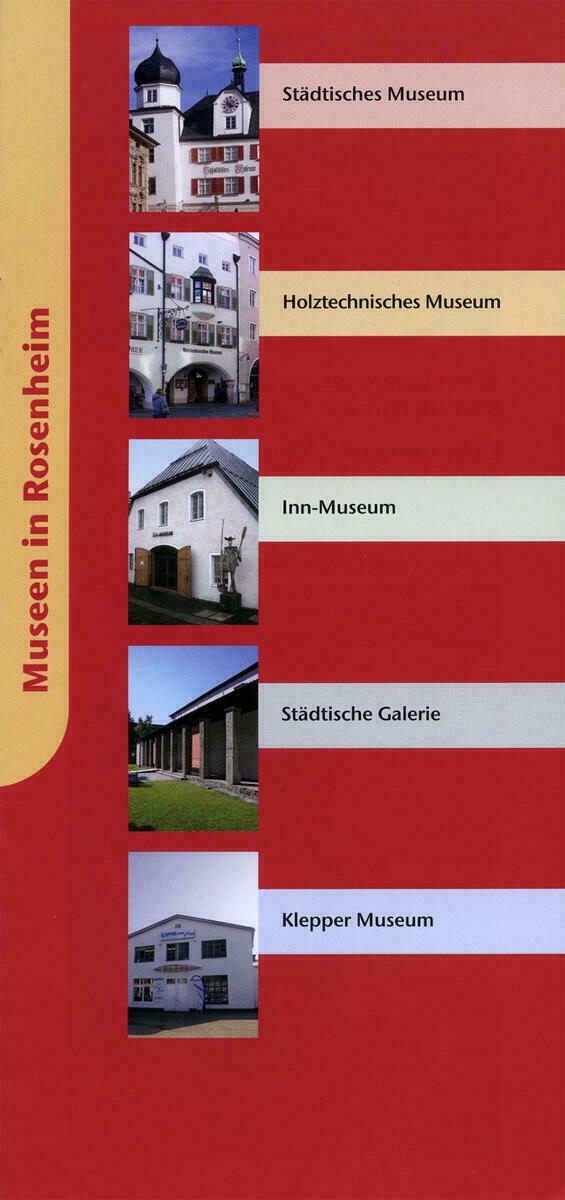 Titelseite mit kleinen Ansichten zu fünf Museen in Rosenheim.