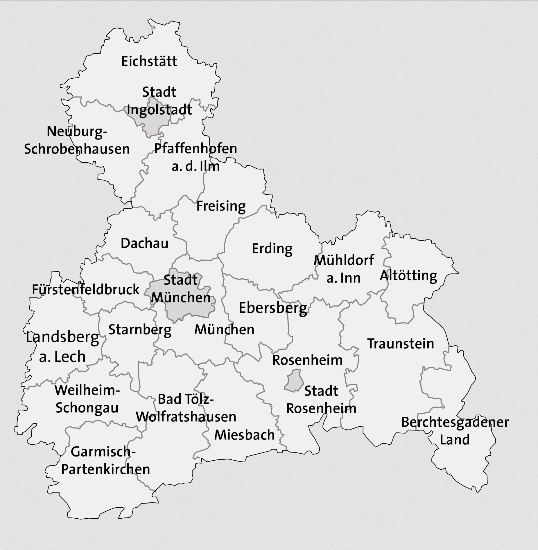 Karte Oberbayern Regionen.Oberbayern Bezirk Oberbayern