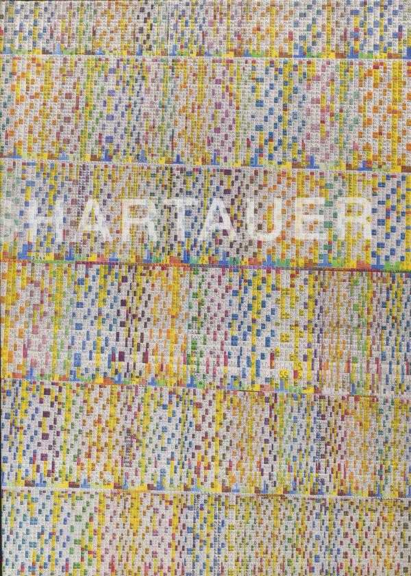 Buchcover des Ausstellungskataloges von Julius Hartauer: Fünf Reihen mit farbigen handgezeichneten Kalenderfeldern für Tag, Monat und Jahr und dem Schriftzug Hartauer.